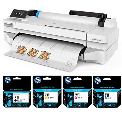 HP DesignJet T100 24' Wireless Large-Format Inkjet Printer, 256MB Memory - Bundle 711 Ink Cartridges, (Black, Cyan, Magenta, Yellow)