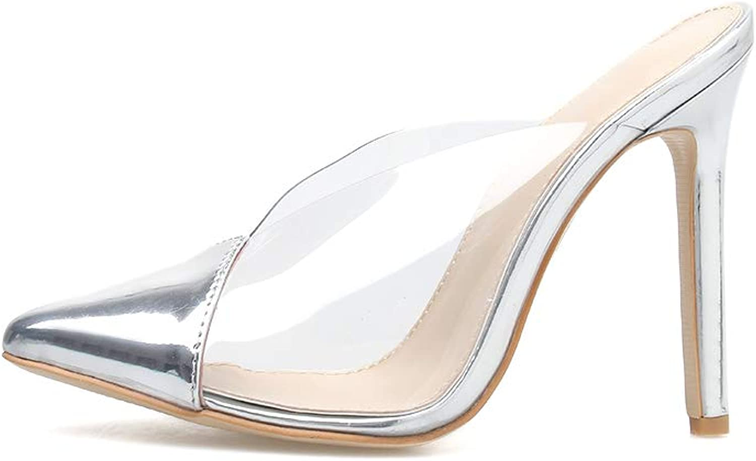 Women's Sandals and Slippers - Fashionable Sexy Transparent High Heel Half Slippers