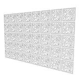 Room Divider Panel de 40 Piezas - 147x235.5cm - Blanco Paneles Separadores Salon Patrón De Flores Biombos Separadores De Ambientes para Estantes De Armario Empotrado