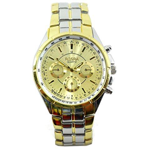 Rosra Herren-Armbanduhr, luxuriös, 18 Karat vergoldet, Quarz-Armbanduhr