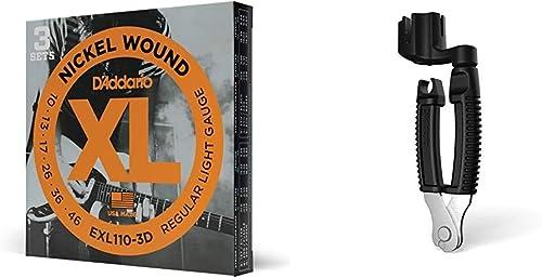 D'Addario EXL110-3D Nickel Wound Electric Guitar Strings, Regular Light, 10-46, 3 Sets & D'Addario Accessories, 0 Gui...
