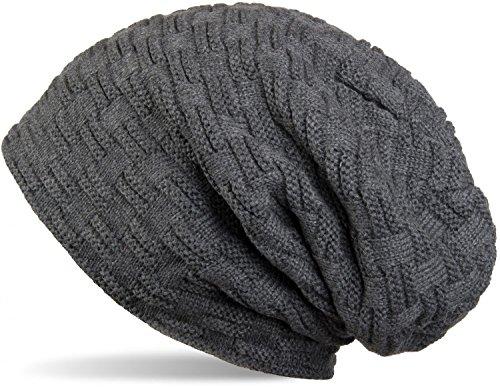 styleBREAKER styleBREAKER warme Feinstrick Beanie Mütze mit Flecht Muster und sehr weichem Fleece Innenfutter, Unisex 04024058, Farbe:Dunkelgrau
