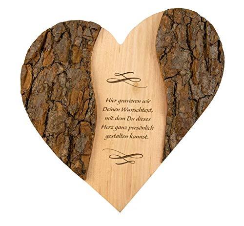 Geschenke 24 Holz Herz Wunschtext Ornament: personalisierte Deko mit Gravur - Namen und Datum graviert – Geschenkidee zur Hochzeit, Hochzeitsgeschenk, Jahrestag, Valentinstag