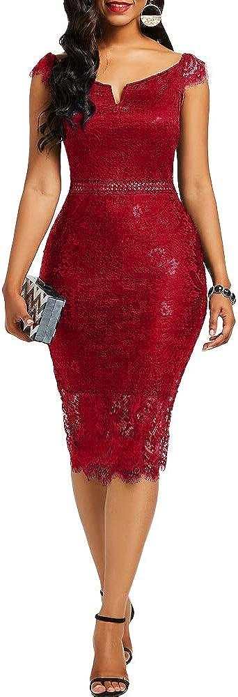 Beautisun Women Solid Color Floral Lace Slim Midi Dress Bodycon Cocktail Club Party Dress