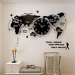 XG-GZ World Map Wall Clocks Modern Design 3D Digital Hanging Clock Ultra Quiet Acrylic Wall Watch,47x21inches