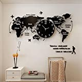 XG-GZ World Map Wall Clocks Modern Design 3D Digital Hanging Clock Ultra Quiet Acrylic Wall Watch,47x21inches