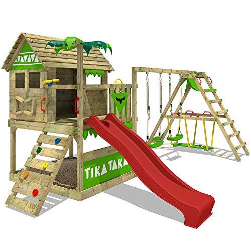 FATMOOSE Spielturm TikaTaka Town XXL Kletterturm mit Surf-Anbau, Rutsche und viel Spiel-Zubehör, rote Rutsche