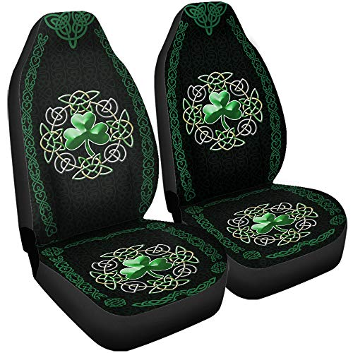 VTH Global 3D Irish Celtic Shamrock Clover Airbag Compatible Seat Covers Car Accessories Size Universal Fit for Most Cars SUV Truck