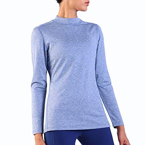 Ogeenier Damen Fleece Laufshirt Langarm mit Stehkragen, Atmungsaktive Funktionsshirt Sportshirt Fitness Shirt