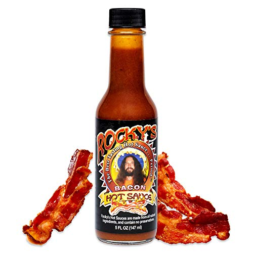 Rocky's Bacon Hot Sauce – Gourmet Red Chili Sauce with Perfectly Balanced Heat – Great Hot Sauce Gift and Wing Sauce - 5 oz