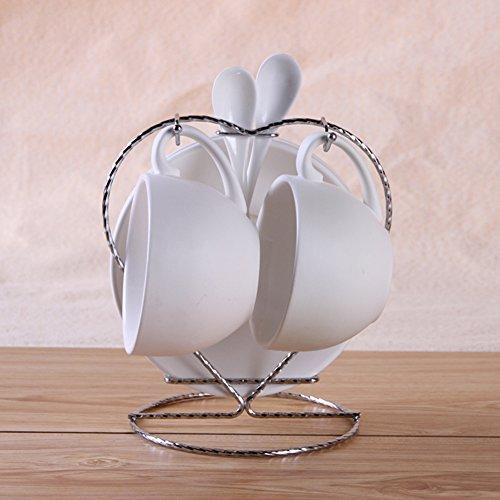 QI&WU Ensemble de Grande capacité Tasse à café en céramique de Couleur, Tasse à Cappuccino café 2 Tasses et 2 Plats-U