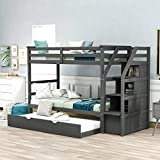 Merax Solid Wood Twin-Over-Twin Bunk Bed, Trundle Bunk Bed with 3 Storage Drawers, Staircase and Safety Guard Rail for Boys, Girls, Teens and Adults (Grey)
