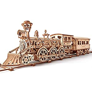 Wood Trick Wooden Toy Train Set with Railway - 34x7″ - Locomotive Train Toy Mechanical Model Kit - 3D Wooden Puzzle, Brain Teaser for Adults and Kids, Best DIY Toy from Wood Trick