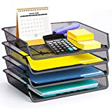 4 Pack - Simple Trending Stackable Office Desk Supplies Organizer, Desktop File Document Letter Tray Holder...