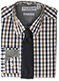 Nick Graham Men's Stretch Modern Fit Mini Check Dress Shirt and Solid Tie Set, Brown, 16-16.5' Neck / 32-33' Sleeve