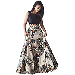 Indias Lowest Price Womens Banglori Satin Floral Lehenga Choli with Blouse Piece (Greeb 50, Black White, Free Size)