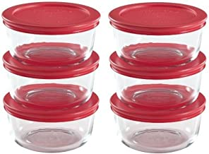 World Kitchen 1085657 711717427614 Pyrex 2 Cup Food Plus Storage Set, 12 Pieces, Clear with Red Lid