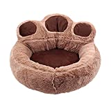 Minsa Cama para mascotas con patrón de pata de oso redondo u ovalado, cama suave para perros pequeños, tamaño 56 x 52 cm (color café)