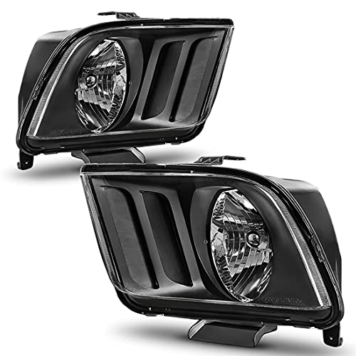 AUTOSAVER88 Headlight Assembly Compatible with 2005-2009 Ford Mustang Black...