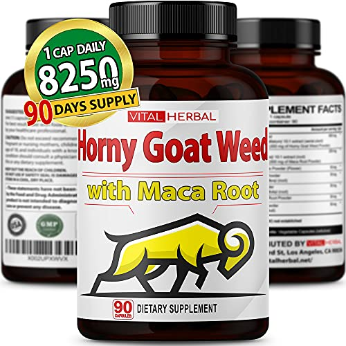 Horny Goat Weed Capsules Equivalent to 8250mg Maximum Strength with Maca Root Tribulus Ashwagandha Tongkat Ali Panax Ginseng for Men Women - 3 Months Supply