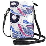 SLHFPX Women Mini Crossbody Shoulder BagBoho Dreamcatcher Leather Cell Phone Purse Handbags