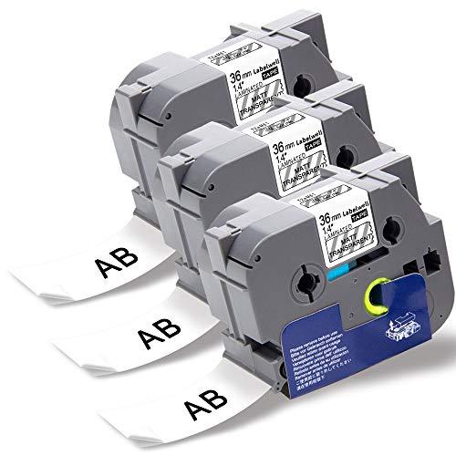 Labelwell P-touch PT-P900W Schriftband TZe-M61 TZeM61 TZ-M61 36 mm x 8m Schwarz auf Transparent Laminiert für Brother PTouch PT-P950NW PT-3600 PT-9200PC PT-9400 PT-9500PC PT-9600 Beschriftungsgerät