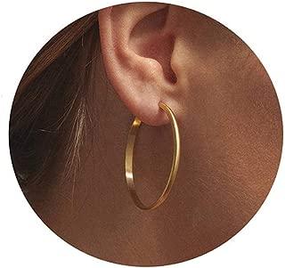 Gold Hoop Earrings,14K Gold Plated Sterling Silver Ear Post Ear Hoops