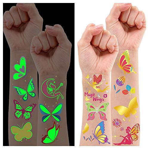 Leesgel Temporäres Tattoo Kinder Schmetterling Aufkleber, 36 Stile Leuchtende + Metallic Glitzer Fake Tattoos für Kindergeburtstag Gastgeschenke Mitgebsel Schmetterlinge Dekorationen