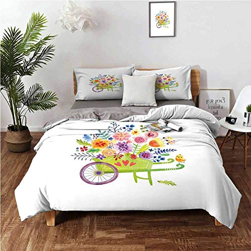 DRAGON VINES 4 Bedding Cover Set Duvet Cover Twin XL Sheet Wheelbarrow Full of Flowers Botanical Gardening Plants Agriculture Watercolor Art Multicolor Bright Color W68 xL90