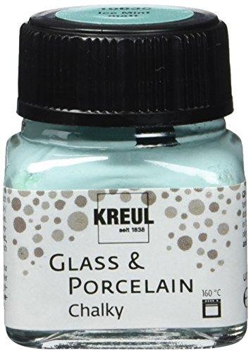 Kreul 16638 - Glass & Porcelain Chalky Ice Mint, 20 ml Glas, sanft - matte Glas- und Porzellanmalfarbe auf Wasserbasis, schnelltrocknend, deckend