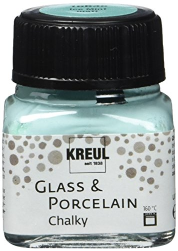 Kreul 16638 - Glass und Porcelain Chalky, sanft - matte Glas- und Porzellanmalfarbe auf Wasserbasis, schnelltrocknend, deckend, 20 ml Glas, Ice Mint