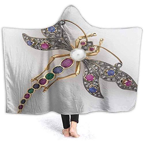 Henry Anthony 40X50 Zoll mit Kapuze Decke Libelle Jeweled Brosche Wele Cuddle werfen warme gemütliche Futter solide Flanell,