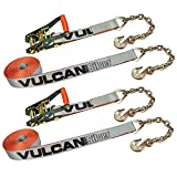 VULCAN Ratchet Strap with Chain Anchors - 2 Inch x 27 Foot, 2 Pack - Silver Series - 3,300 Pound Safe Working Load