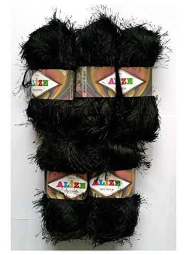 5 x 100 Gramm Alize Strickgarn mit Fransen, 500 Gramm Plüsch Fransengarn (schwarz 60)