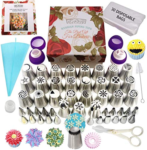 K&S Artisan Russian Russian Piping Tips Set 87 GENUINE Cake Decorating Tips Professional Icing Nozzles, Flower Frosting Tips- Large Cupcake Decorating Set with User Guide in a Gift Box