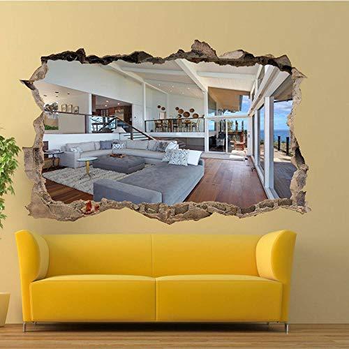 HAOGG 3D pegatinas de pared rotas Decoración Del Hogar De La Oficina Del Mural Del Arte De La Etiqueta Engomada De La Lámpara De Pared Interior Residencial De Lujo