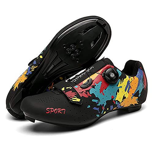 RTY Zapatos de Ciclismo para Hombre Zapato de Bicicleta de Carretera Compatible con SPD, Zapatos de Bicicleta con Hebilla giratoria para Carreras de conducción al Aire Libre, Candado rápido,Negro,38