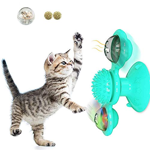 SATOHA Windmühle Katzenspielzeug Mit Katzenminze Katzenspielzeug Eingebautes Rotierendes Led-Ball Haustier Spielzeug Katzenbiss Spielzeug Spaßspielzeug Für Katze