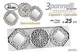 GICOS IMPORT EXPORT SRL Set 3 Pannelli Decorativi da Parete 1 Pannello 2 specchi in plasti...