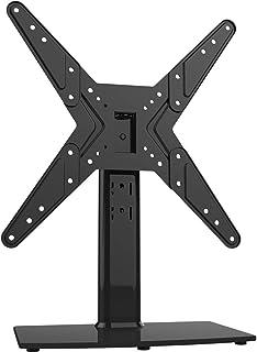 Soporte giratorio universal para TV de 21 a 47 pulgadas con giro de 90 grados, altura de 4 niveles ajustable, base de vidrio templado resistente, soporta hasta 45 kg, HT02B-002P