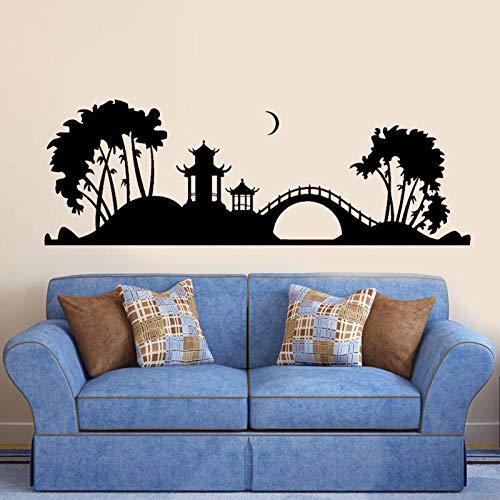AGiuoo Pagoda Japonesa Puente de árbol Japón Noche Arte Pared Pegatina decoración del hogar para Sala de Estar Naturaleza calcomanías Mural decoración Interior 244x84cm