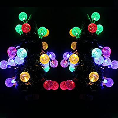 30ft Solar Outdoor String Lights, CoolTime 30ft 50 LED Crystal Globe Waterproof Fairy String Lights, Solar Powered Outdoor String Lights for Christmas Halloween Garden Yard Wedding Party.