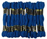 Anchor a mano cruzado de la puntada Muliné bordados de hilos de seda del paquete de 25 madejas-Royal Blue