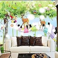 3D写真の壁紙漫画の動物の音楽ノート新鮮な子供部屋の壁の装飾壁画のリビングルームの壁紙-300x210cm