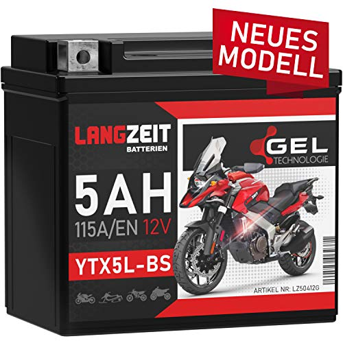 LANGZEIT YTX5L-BS GEL Roller Batterie 12V 5Ah 115A/EN GEL Batterie 12V Motorradbatterie doppelte Lebensdauer entspricht YTX5L-4 50412 CTX4L-4 YT5L-BS ersetzt 4Ah vorgeladen auslaufsicher wartungsfrei