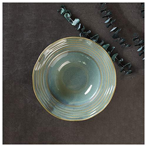CJW Assiette creuse en céramique émaillée au four vert - Italie Assiette en forme de chapeau de paille, bord de feuille de lotus, 20 cm