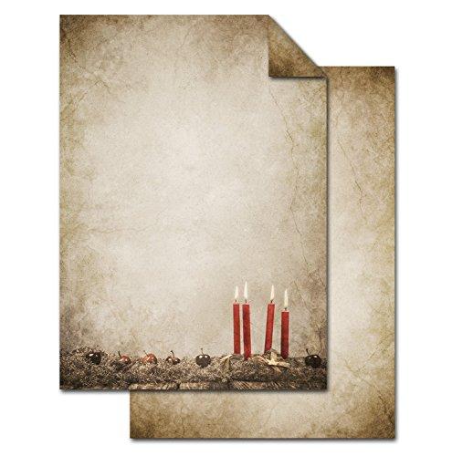 50 Blatt Weihnachts-Briefpapier beige ADVENTSKRANZ VINTAGE beidseitig bedruckt 100g Weihnachts-Papier DIN A4 Brief-Bogen marmoriert vintage natur rot braun alt