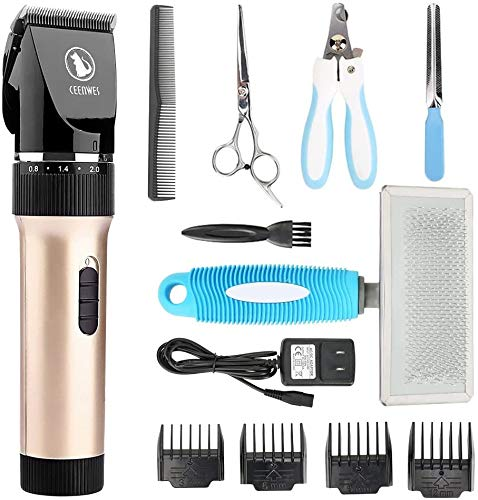 Ceenwes Pet Clippers (Upgrade Version) Low Noise Professional Dog Clippers Rechargeable Cordless Pet Clipper Trimmers Pet Hair Grooming Kit with Slicker Brush for Cats Dogs and Other Animals