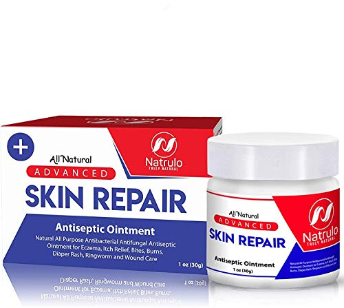 Natrulo Skin Healing Cream | Natural All Purpose Antibacterial Antiseptic Ointment for Eczema, Itch Relief, Bites, Burns, Diaper Rash, Ringworm, Wound Care | Antifungal Repair Rescue Skincare Salve