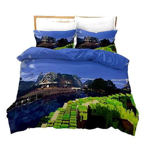 UNILIFE 3-teiliges Bettwäsche-Set Reversibler Minecraft-Bettbezug mit Kissenbezug 3D-gedrucktes Bettbezug Set gegen Allergien Doppelbett